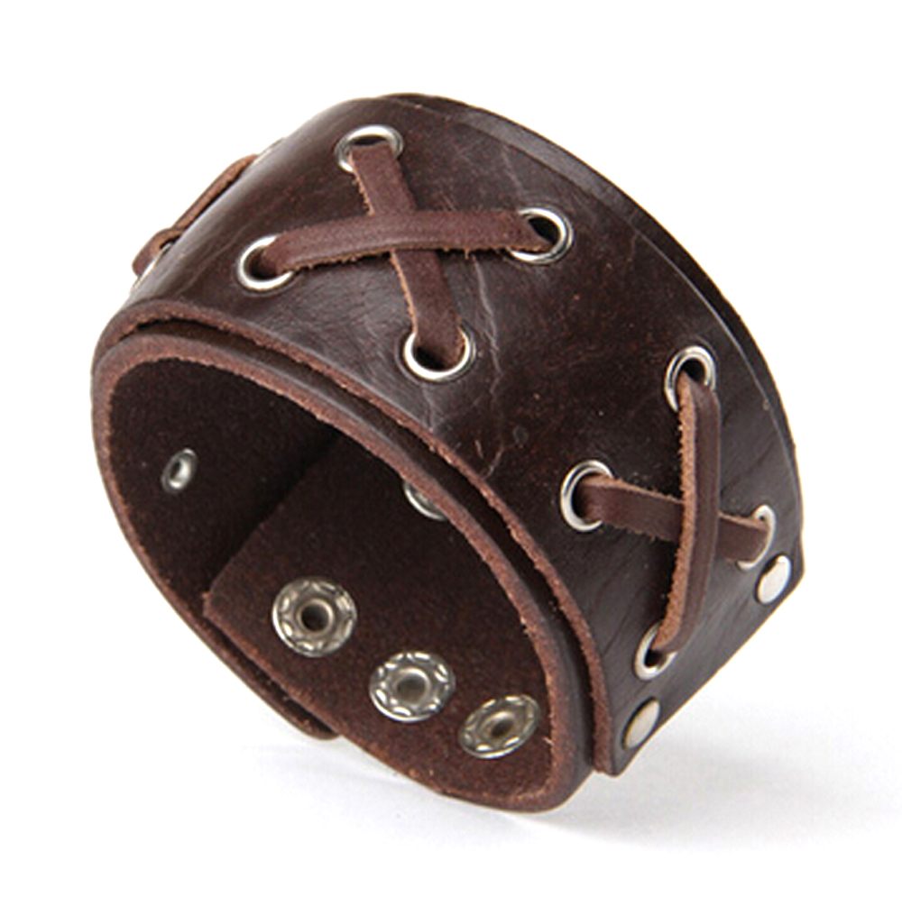 Punk Chic Jewelry Wide Brown Leather Lace Bracelet
