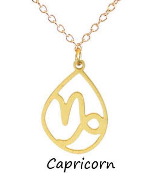 "Kris Nations Jewelry ""Capricorn"" Pendant Necklace Gold"
