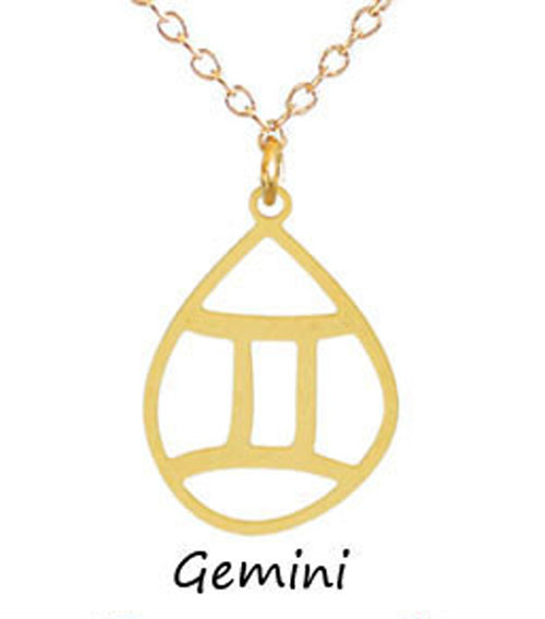 "Kris Nations Jewelry ""Gemini"" Pendant Necklace Gold"