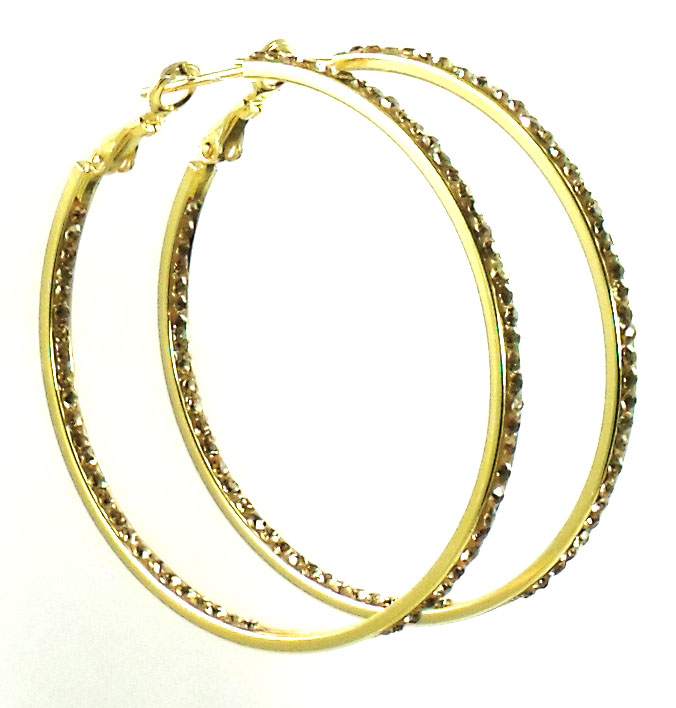 Athena Jewelry Gold Crystal Hoop Earrings Large 2 inch