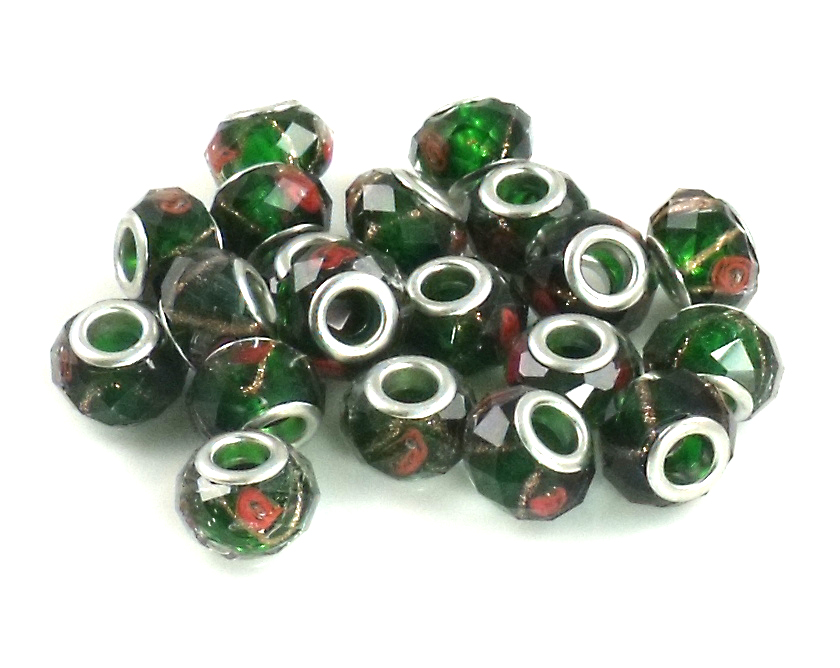 Athena Jewelry Black Green Rose Crystal Beads 10 Fits Pandora