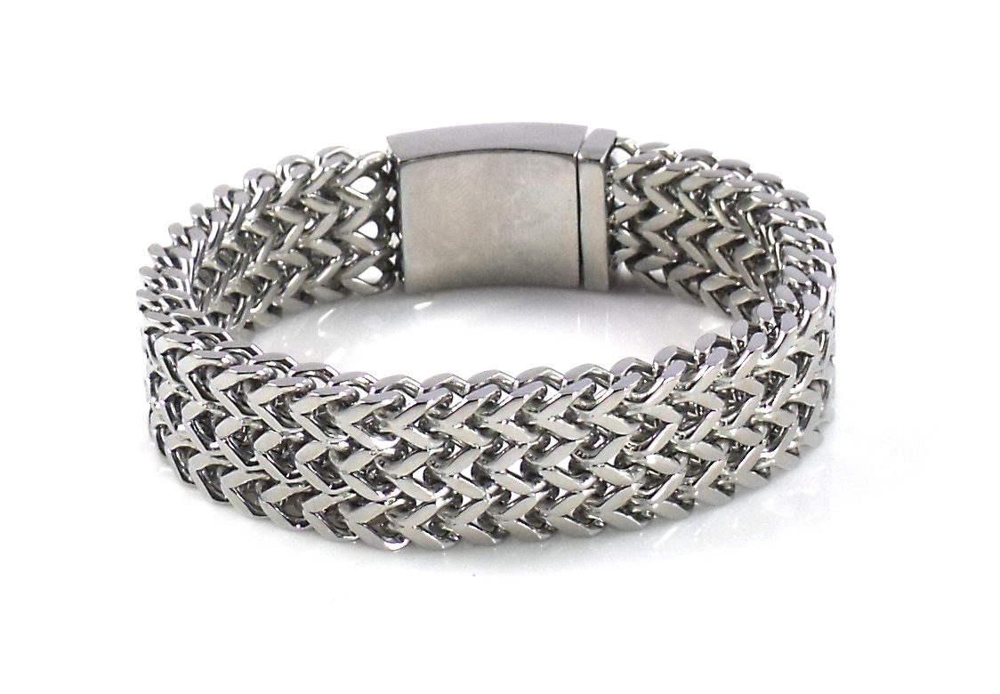 Liquid Silver Medium Herringbone Bracelet 8 inch