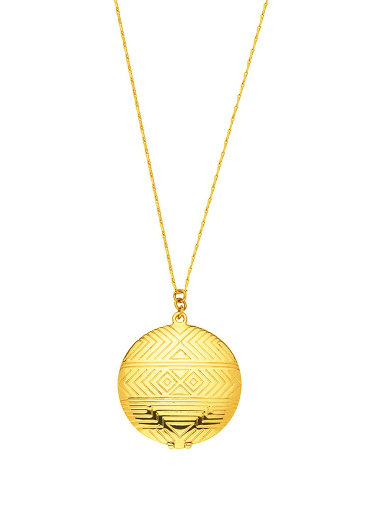 House of Harlow MEDALLION LOCKET NECKLACE GOLD
