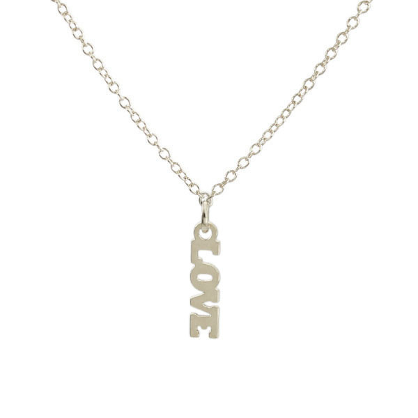 "Kris Nations Jewelry ""Love"" Pendant Necklace Silver"