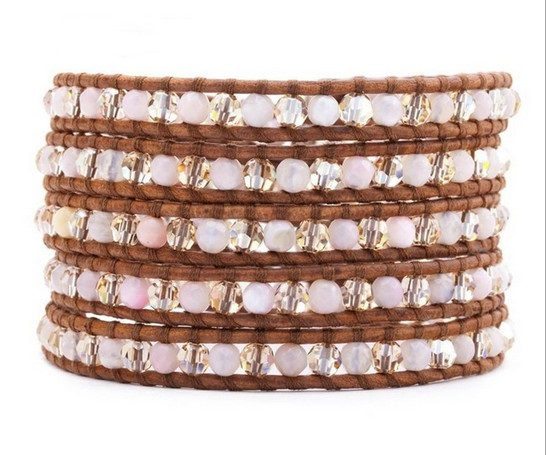 Lin Suu Jewelry Brown Leather Wrap Bracelet Pink Crystal Multico