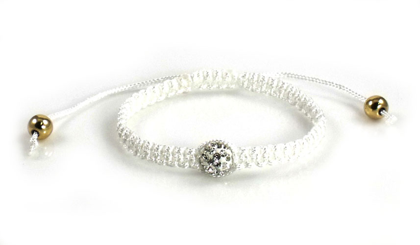 Urban Chic Jewelry Pave Ball Braided Bracelet White