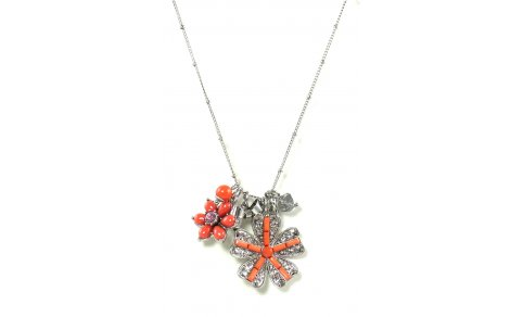 Betsey Johnson Jewelry Iconic Coral Glam Flower Pendant Necklace
