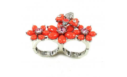 Betsey Johnson Jewelry Iconic Coral Glam Bee Flower Ring New 201