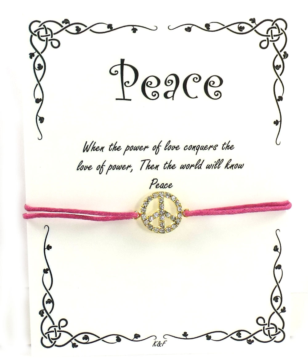 K and F Jewelry the Peace Bracelet, Pave Crystal Peace Sign