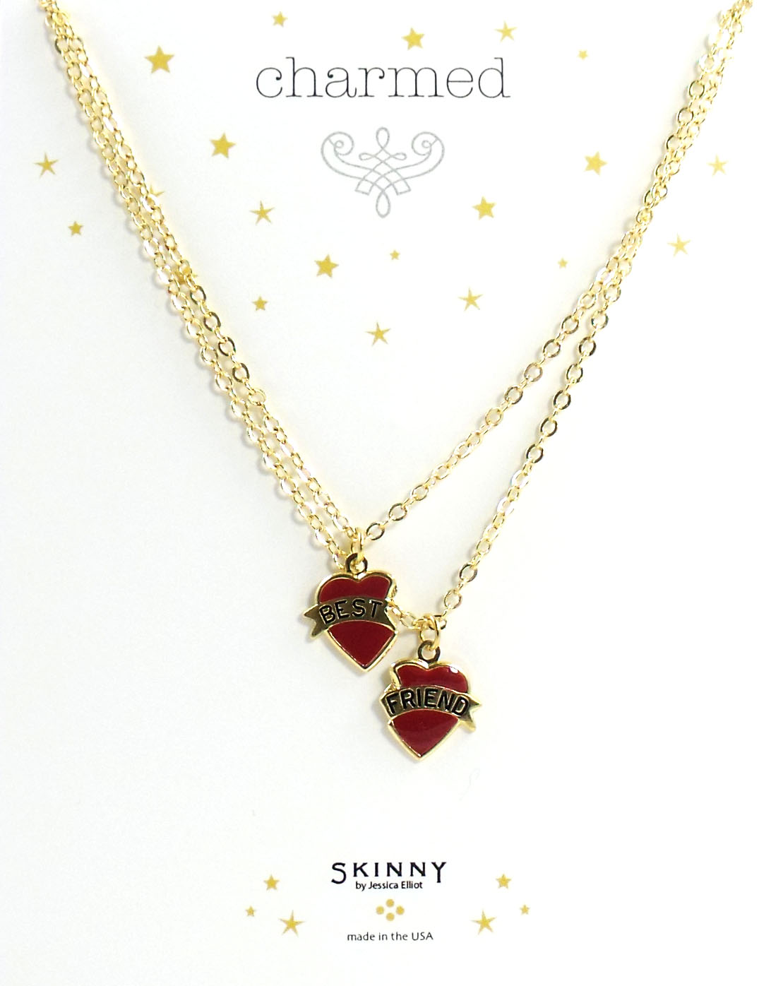 Skinny Jewelry Best Friends Heart Charm Necklaces Red, by Jessic