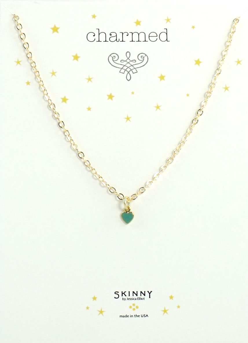 Skinny Jewelry Blue Heart Charm Necklace Gold, by Jessica Elliot