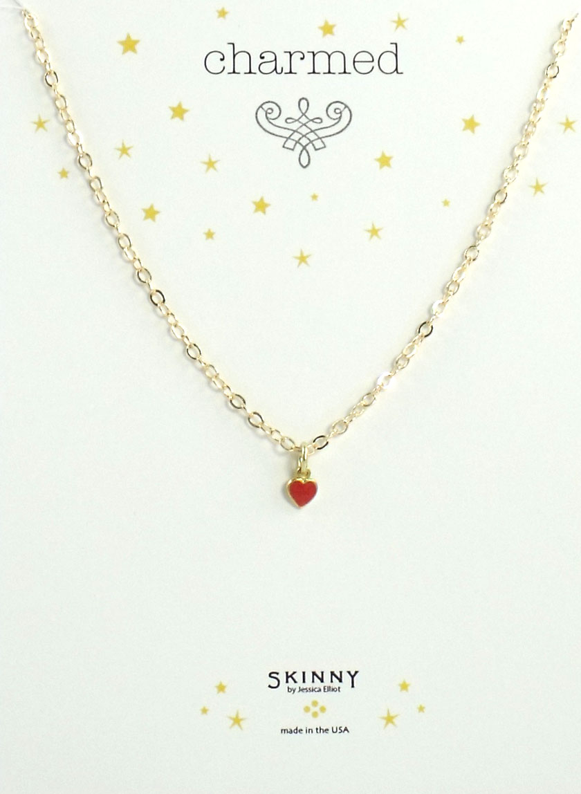 Skinny Jewelry Red Heart Charm Necklace Gold, by Jessica Elliot
