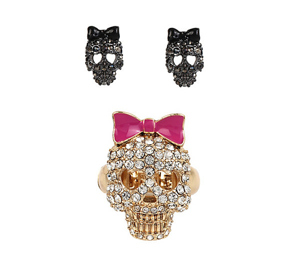 Betsey Johnson Jewelry SUPER SETS SKULL RING AND EARRINGS