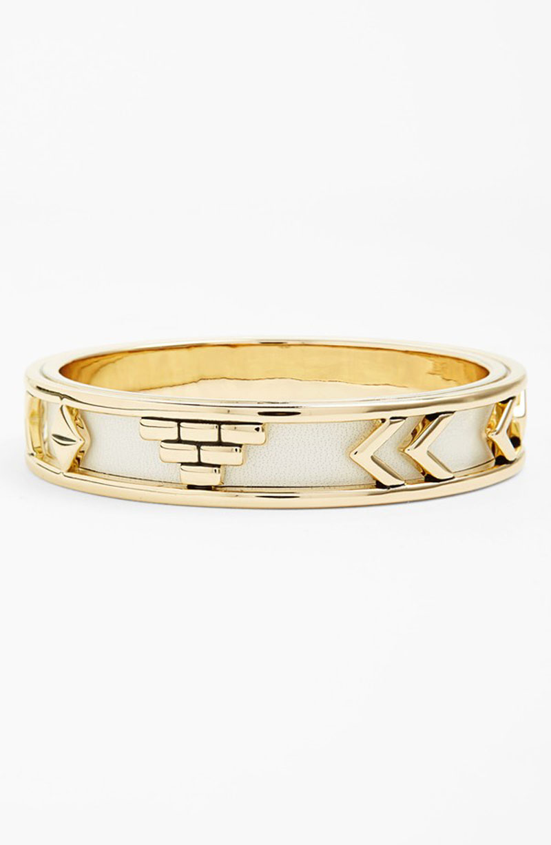 House of Harlow Aztec Bangle with White Leather