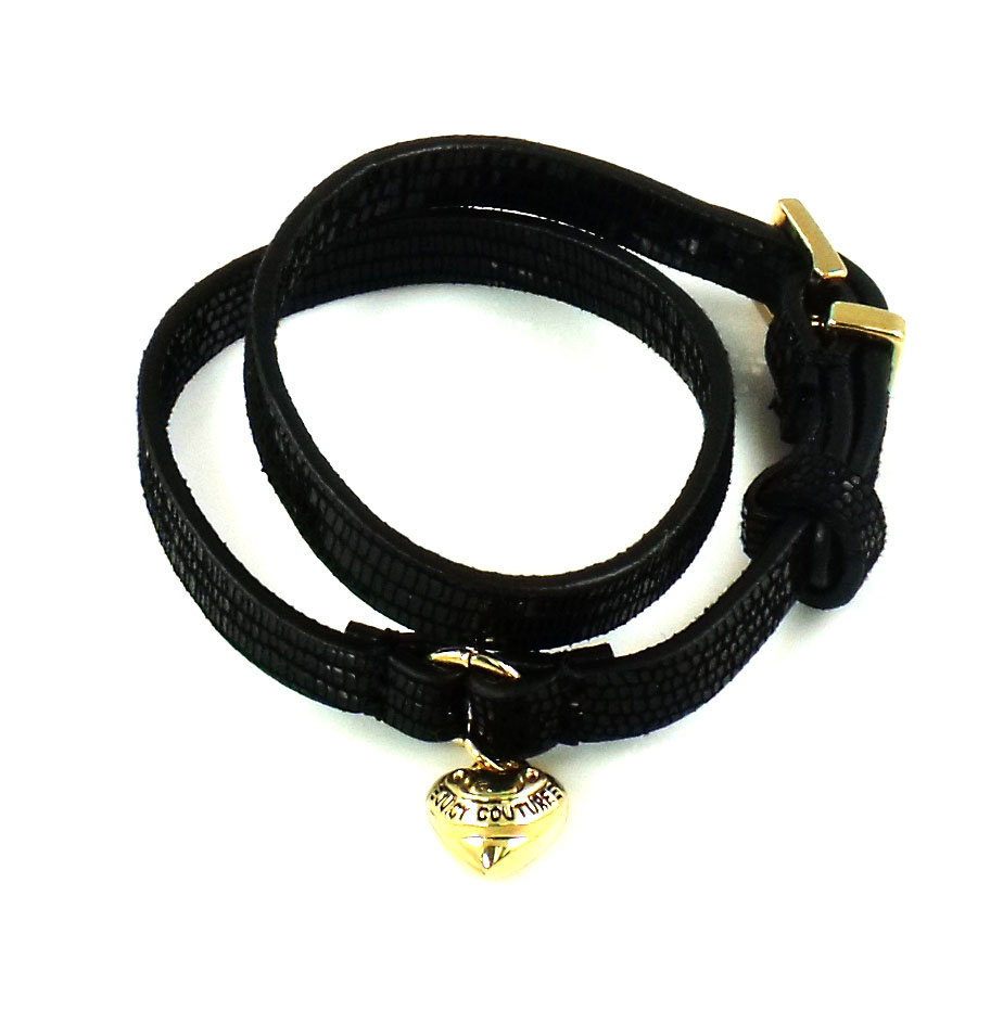 Juicy Couture Jewelry Double Wrap Leather Bracelet Black