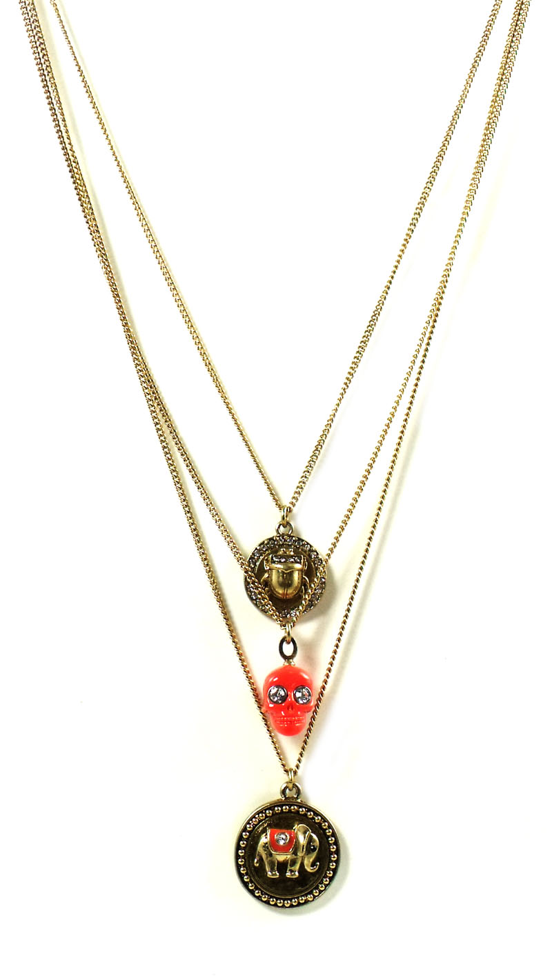 Juicy Couture Jewelry Triple Chain Lucky Charm Necklace New 2013