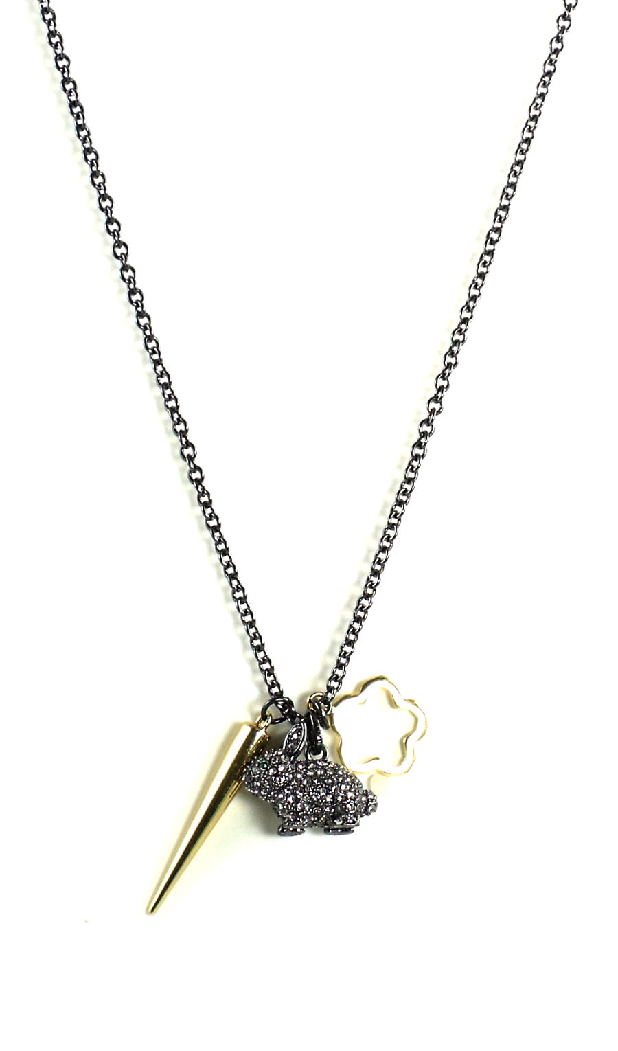 Juicy Couture Jewelry Black Silver Pave Bunny Necklace